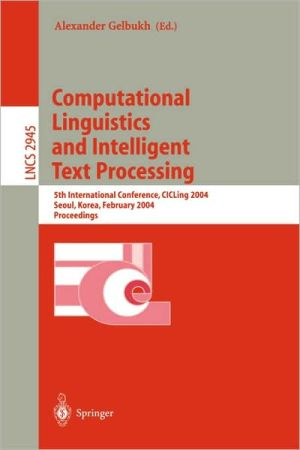 Book cover of Computational Linguistics and Intelligent Text Processing